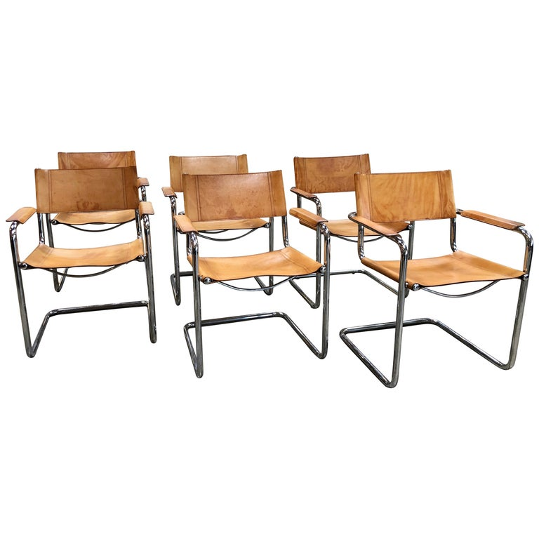 Mart Stam Six Italian Leather Armchairs, 1950s For Sale