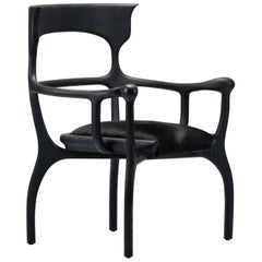MARTA Black Chair/Armchair in Walnut/Oak with Cowhide Seat by Mandy Graham