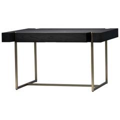 Marta Black Oak/Walnut Writing Desk/Table, Brass/Bronze Base/Legs, Mandy Graham