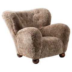 Marta Blomstedt 1930s Sheepskin Wing Chair for The Hotel Aulanko