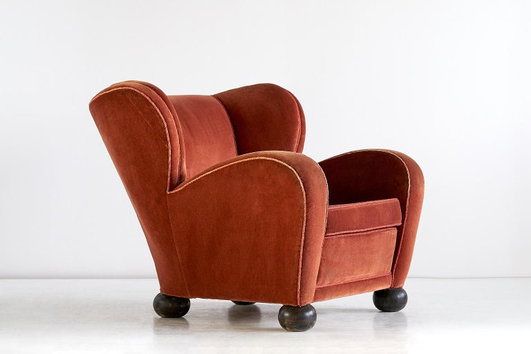 Finnish Märta Blomstedt Armchair in Mohair Designed for Hotel Aulanko, Finland, 1939 For Sale