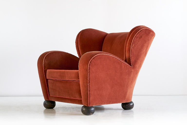 Stained Märta Blomstedt Armchair in Mohair Designed for Hotel Aulanko, Finland, 1939 For Sale