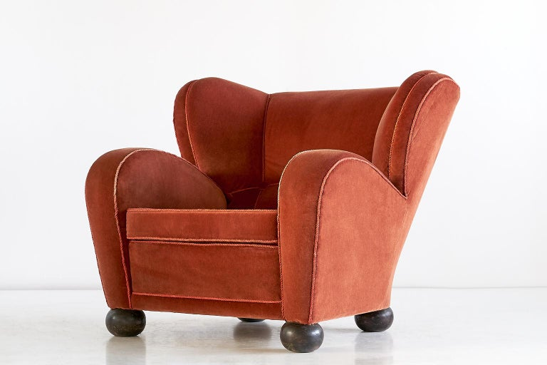 Mid-20th Century Märta Blomstedt Armchair in Mohair Designed for Hotel Aulanko, Finland, 1939 For Sale