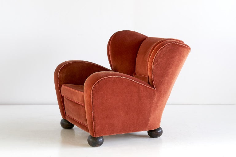 Birch Märta Blomstedt Armchair in Mohair Designed for Hotel Aulanko, Finland, 1939 For Sale