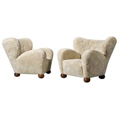 Marta Blomstedt Pair of Easy Chairs in Sheepskin for Hotel Aulanko Finland, 1939