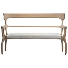 MARTA Blonde Oak Settee/Bench with Natural Leather/Cowhide Seat by Mandy Graham