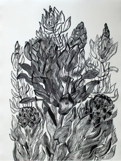 Protea - XXI Century, Contemporary Floral Linocut, Black and White