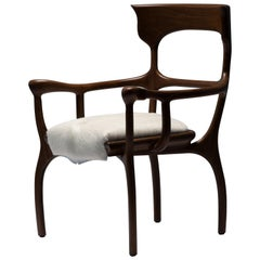 MARTA Brown Chair/Armchair in Walnut/Oak with Cream Cowhide Seat by Mandy Graham