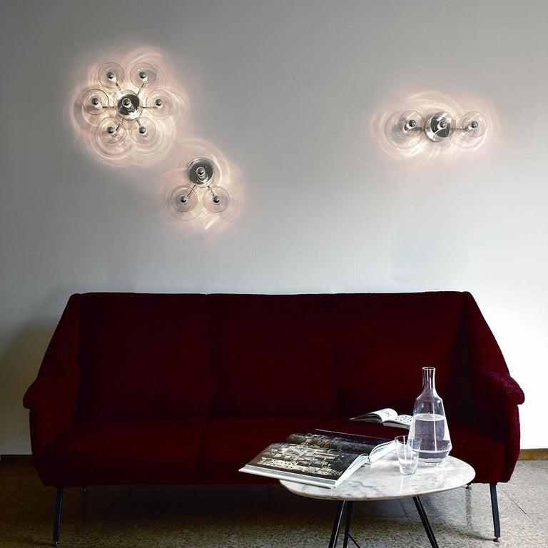 Mid-Century Modern Marta Laudani & Marco Romanelli Wall Lamp 'Fiore' 3 Triangular by Oluce For Sale