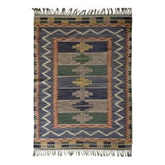 "Märta Måås-fjetterström ""Blå Taggen"" Flat-Weave Carpet, Dyed Wool, Sweden, 1950s"