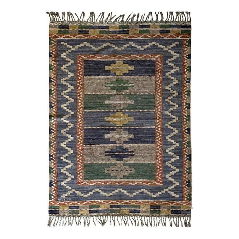 """Märta Måås-fjetterström """"Blå Taggen"""" Flat-Weave Carpet, Dyed Wool, Sweden, 1950s For Sale"""