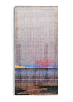 Horizon, Cabo Sardão - Abstract Landscape,Contemporary Painted and Woven Artwork