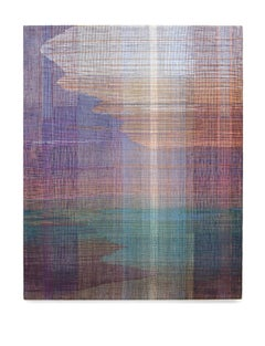 Meadow - Abstract Landscape, Contemporary Woven and Painted Artwork