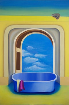 A bath in the sun - XXI Century, Contemporary Acrylic Painting, Bright Colors