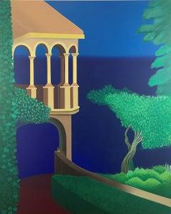 At the destination - Contemporary Acrylic Painting, Vibrant colors, Landscape