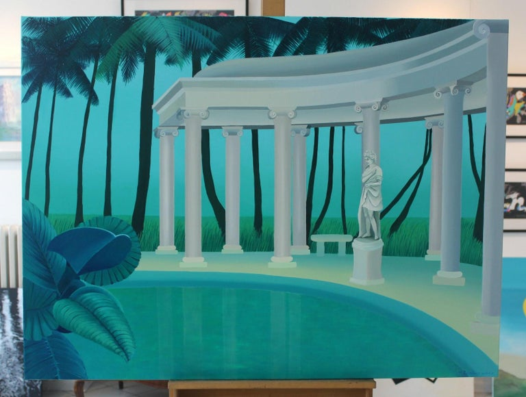 Colonnade in a palm forest - Figurative landscape acrylic painting, Green & blue - Painting by Marta Rynkiewicz