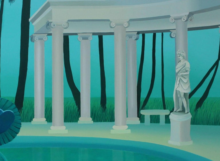 Colonnade in a palm forest - Figurative landscape acrylic painting, Green & blue - Surrealist Painting by Marta Rynkiewicz