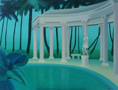 Colonnade in a palm forest - Figurative landscape acrylic painting, Green & blue