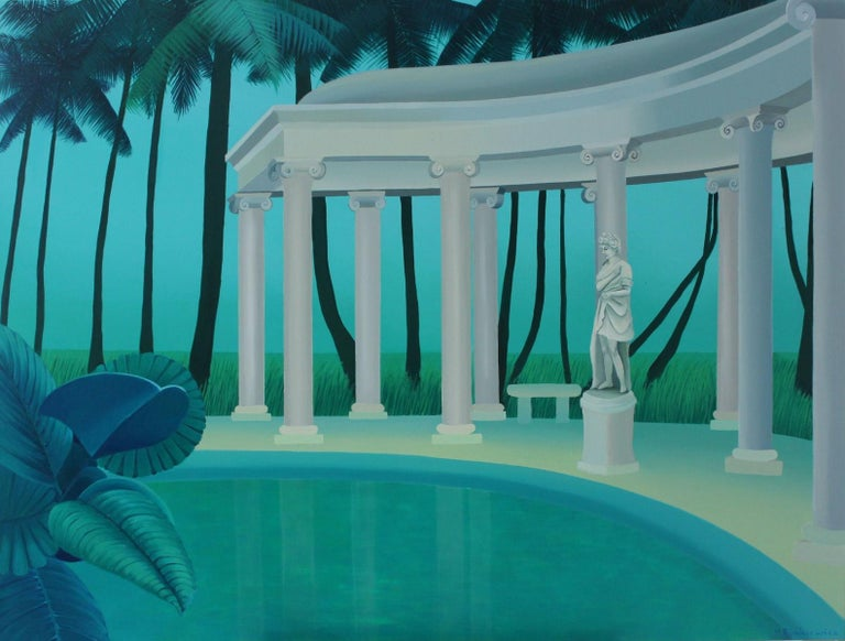 Marta Rynkiewicz Landscape Painting - Colonnade in a palm forest - Figurative landscape acrylic painting, Green & blue