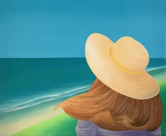 Girl at the Sea - Landscape acrylic painting, Vibrant colors, Figurative pop art