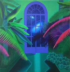 On the other side of the door - Contemporary Acrylic Painting Surrealism Cosmos