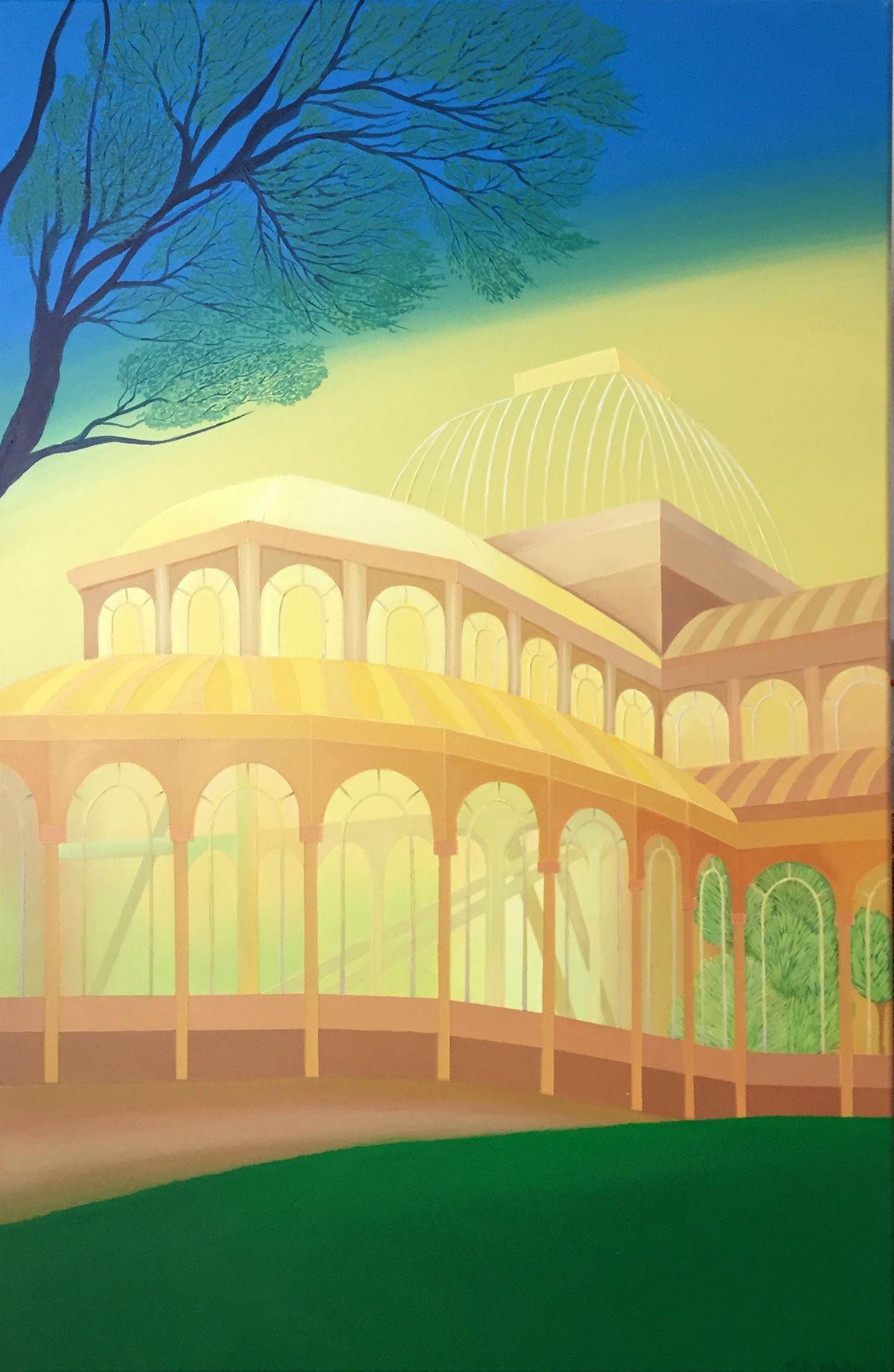 Renaissance - Contemporary acrylic painting, Pop art, Vivid colors, Architecture