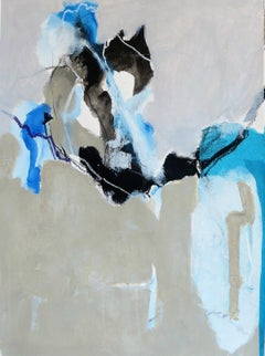 Untitled - Contemporary Abstract Acrylic Painting, Blue, white & beige