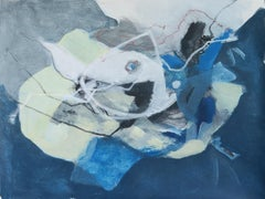 Untitled - Contemporary Abstract Acrylic & Pastel Painting, Blue & white