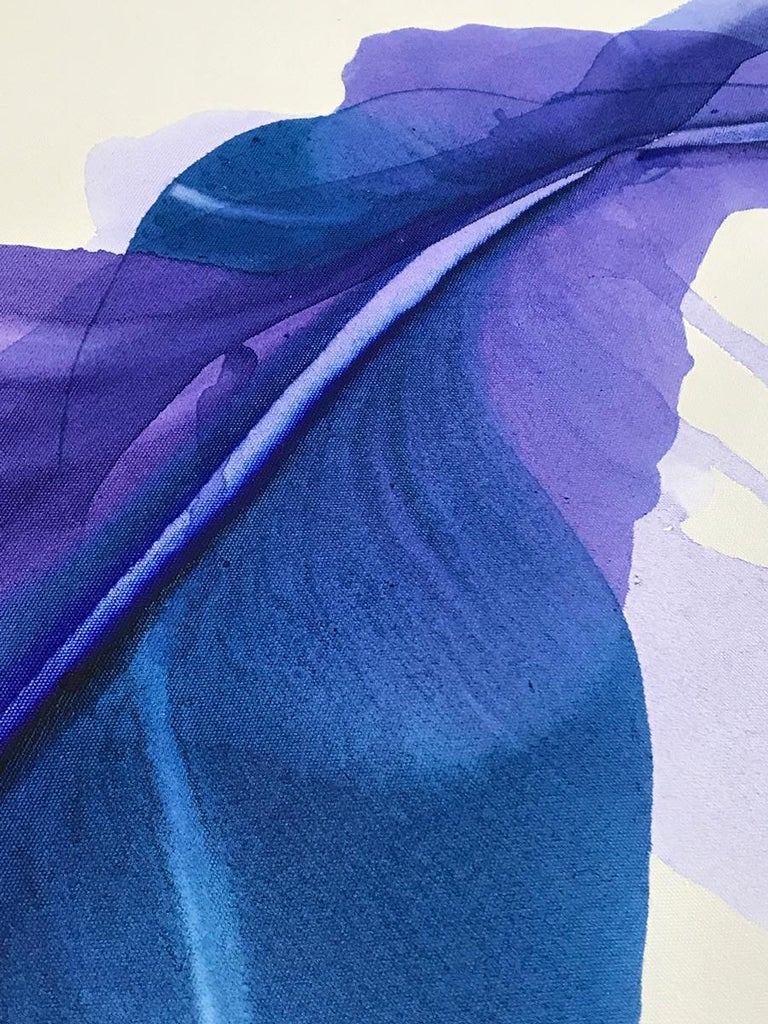 'The Blue Bell', Large Contemporary Floral-inspired Acrylic painting - Abstract Painting by Marta Spendowska