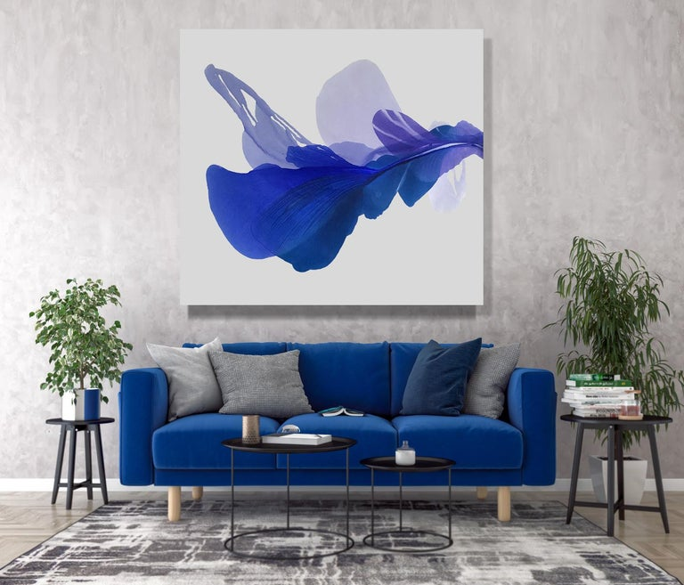 'The Blue Bell', Large Contemporary Floral-inspired Acrylic painting - Gray Abstract Painting by Marta Spendowska