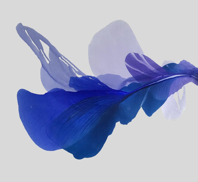 Marta Spendowska Abstract Painting - 'The Blue Bell', Large Contemporary Floral-inspired Acrylic painting