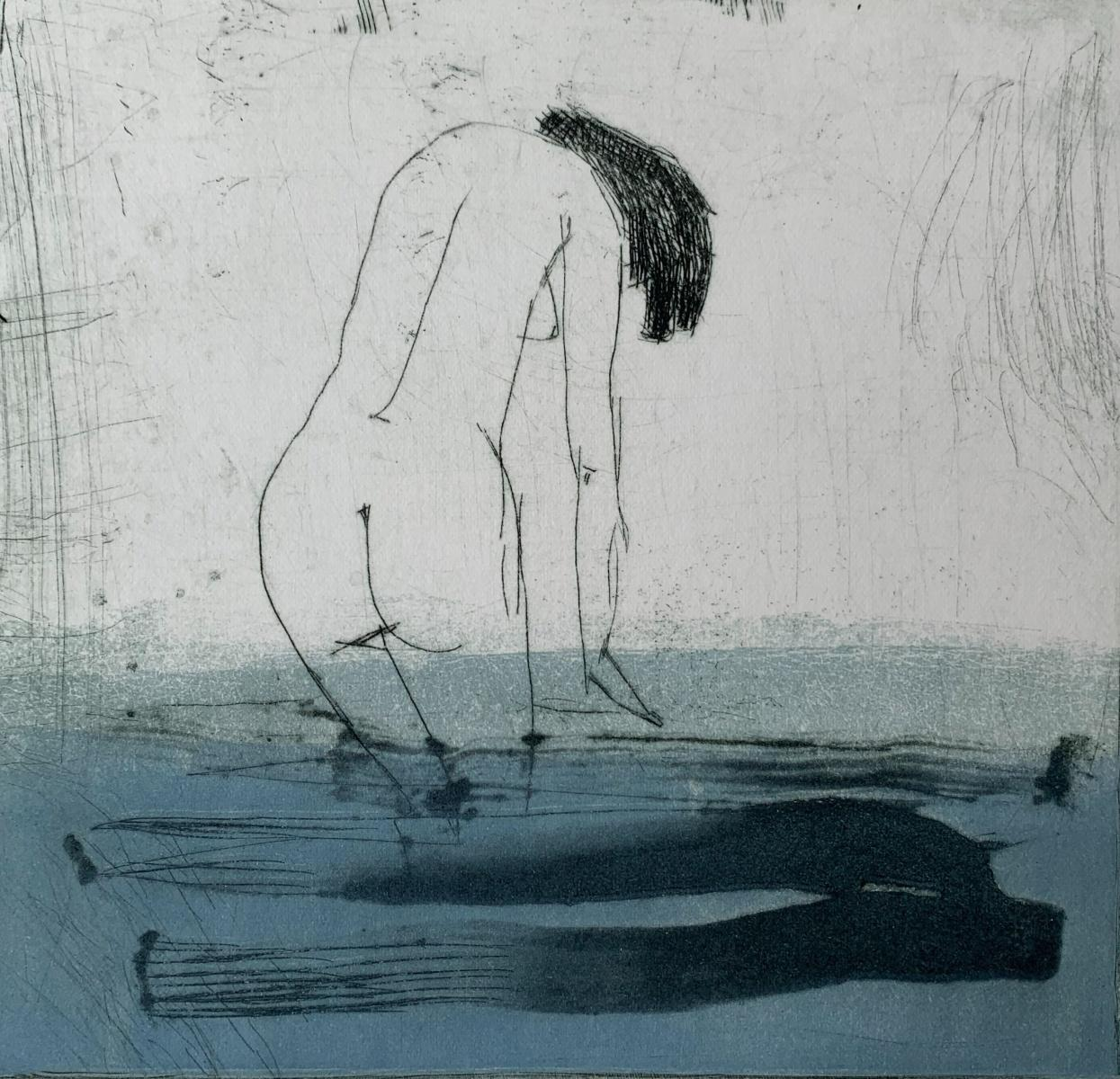 In water 1 - Contemporary Figurative Drypoint Etching Print, Female nude