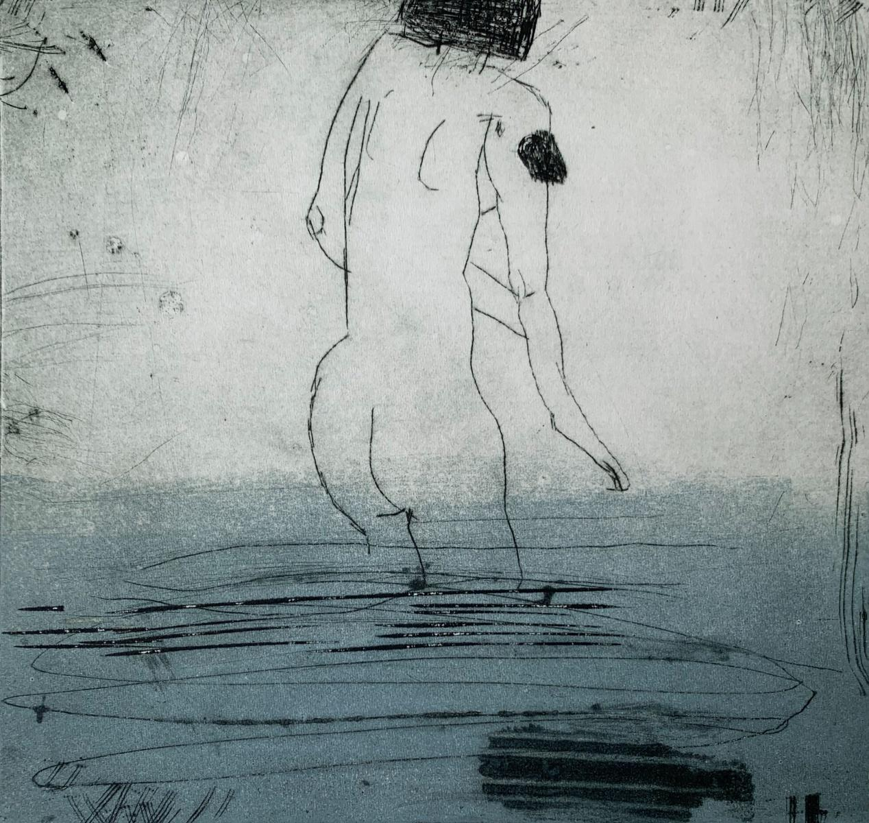 In water 2 - Contemporary Figurative Drypoint Etching Print, Female nude