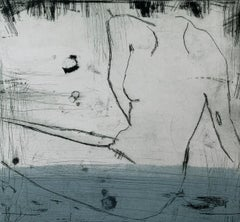In water 3 - Contemporary Figurative Drypoint Etching Print, Female nude