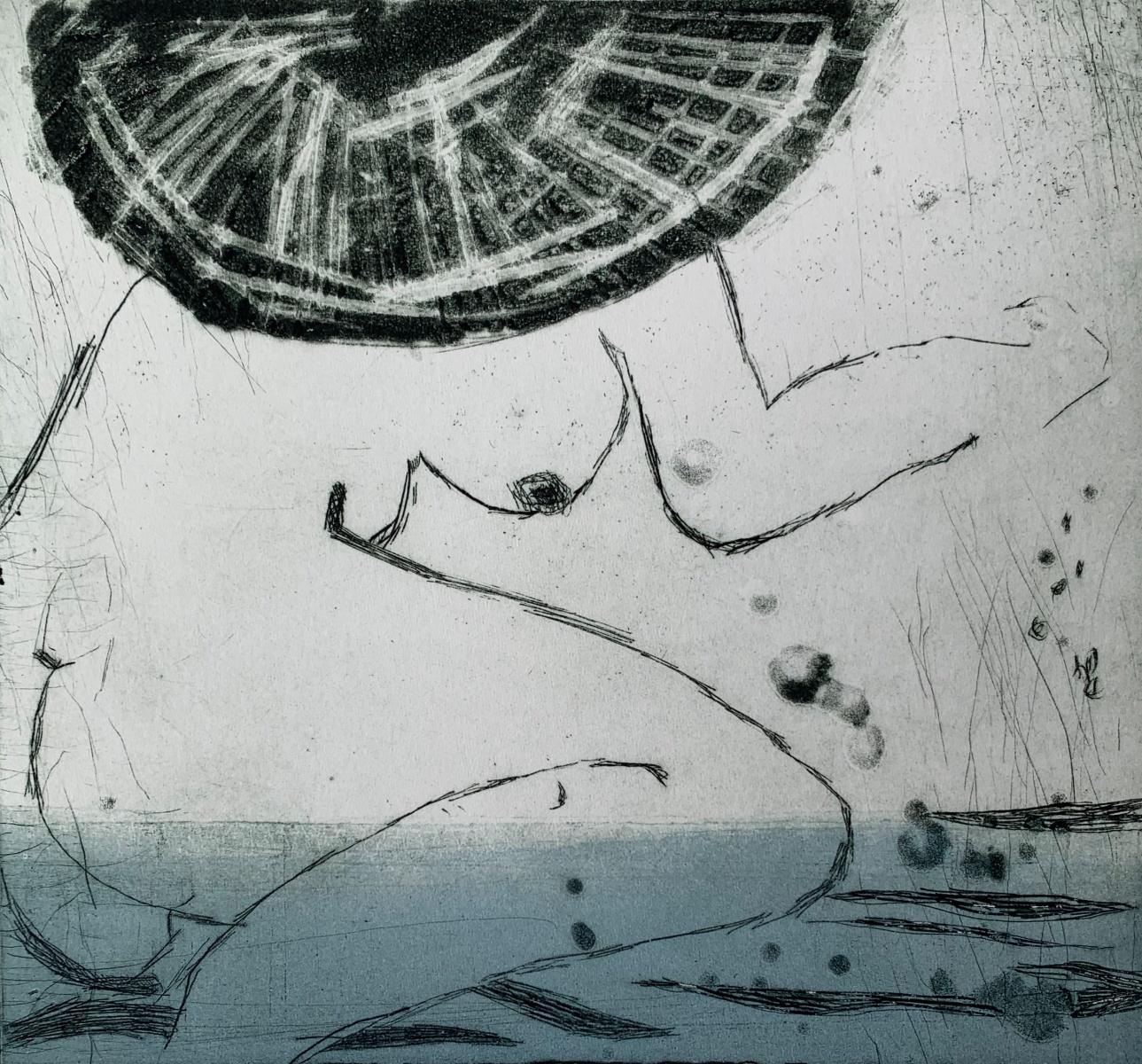 In water 4 - Contemporary Figurative Drypoint Etching Print, Female nude