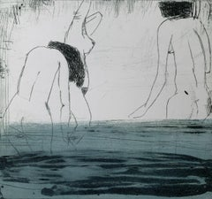 In water 5 - Contemporary Figurative Drypoint Etching Print, Female nude