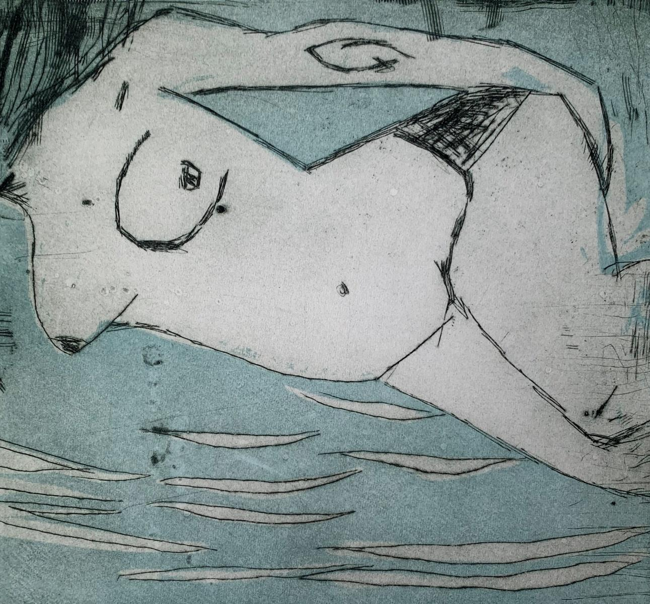 In water 6 - Contemporary Figurative Drypoint Etching Print, Female nude