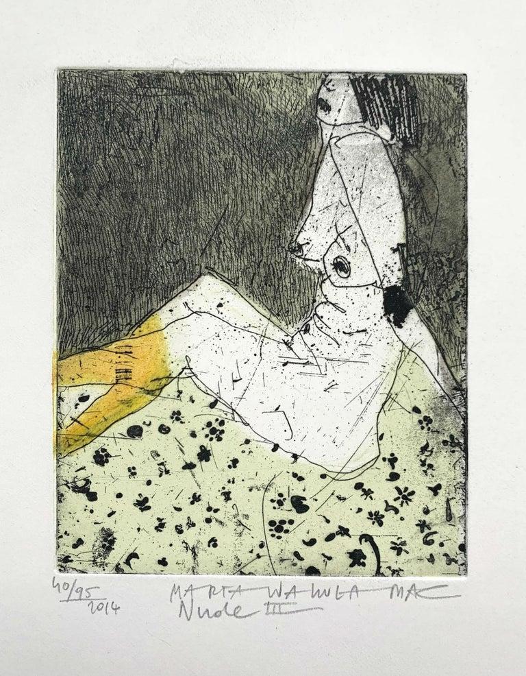 Nude 3 - 21 Century, Contemporary Figurative Etching Print, Female - Beige Figurative Print by Marta Wakula-Mac