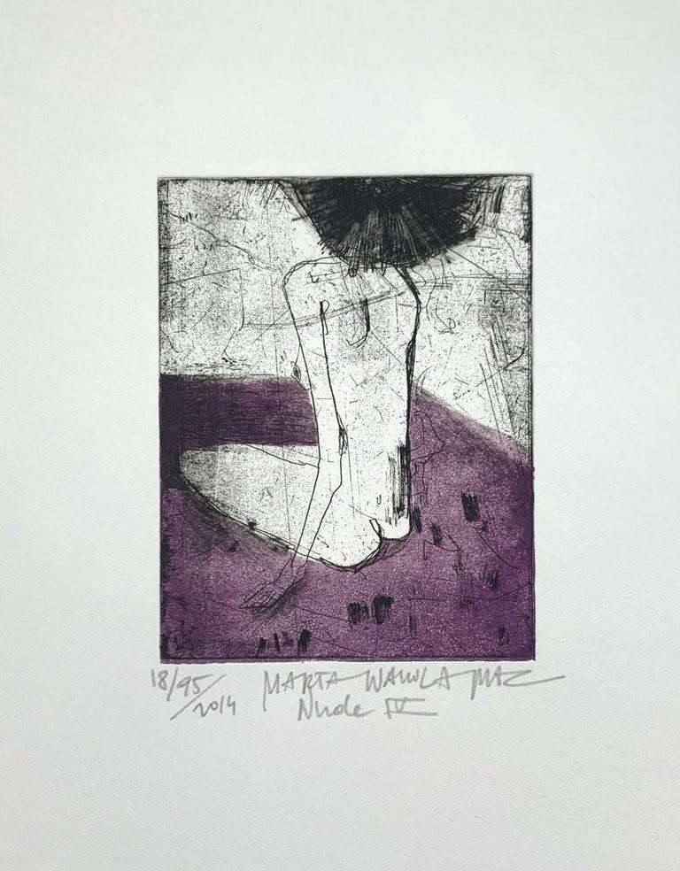 Nude 4 - 21 Century, Contemporary Figurative Etching Print, Female - Gray Figurative Print by Marta Wakula-Mac
