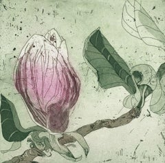 Pink magnolia - Contemporary Figurative Drypoint Etching Print Flower Floral