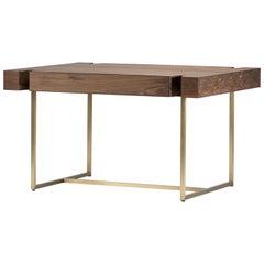 Marta Walnut/Black Oak Writing Desk/Table, Brass/Bronze Base/Legs, Mandy Graham