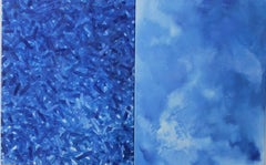 A Diptych of Blue - Contemporary Abstract Oil Painting, Vibrant color