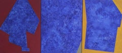 A Triptych of Blue - Contemporary Abstract Oil Painting, Vibrant color