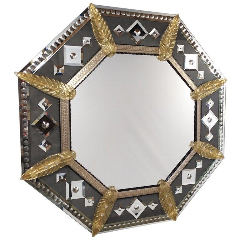 Marte Murano Glass Mirror For Sale