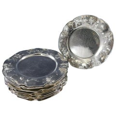 Martele by Gorham Sterling Silver Set of 13 Charger Plates with Daisy
