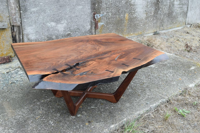 Modern Martell Woodworks Claro Walnut Slab Coffee Table with Wenge Butterflies For Sale