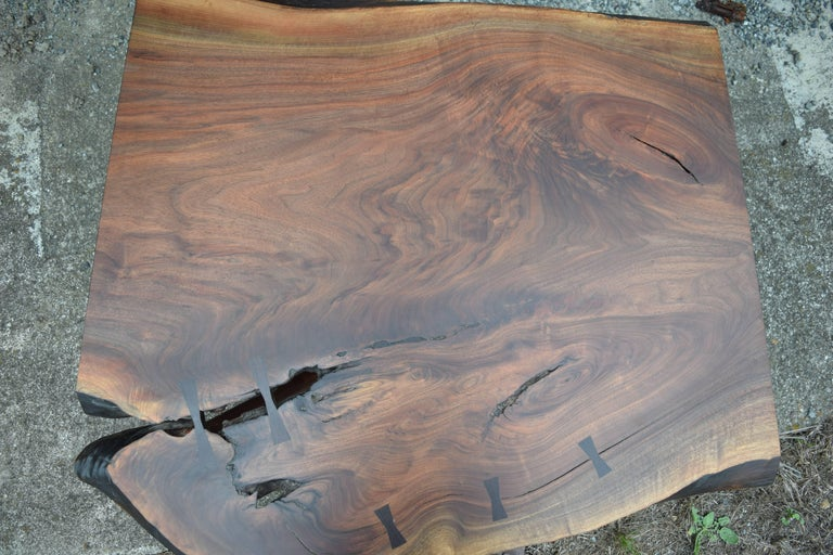 Martell Woodworks Claro Walnut Slab Coffee Table with Wenge Butterflies In New Condition For Sale In Mendocino, CA