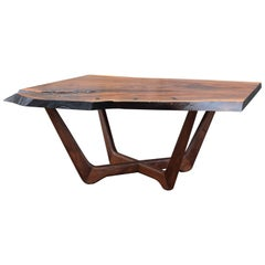Martell Woodworks Claro Walnut Slab Coffee Table with Wenge Butterflies