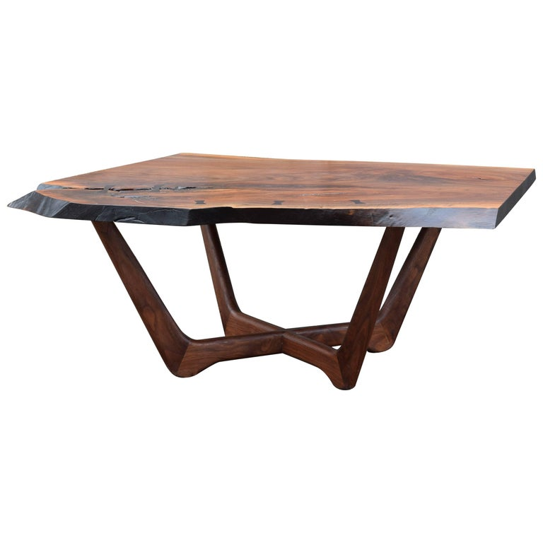 Martell Woodworks Claro Walnut Slab Coffee Table with Wenge Butterflies For Sale