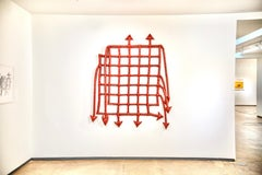 Large Crimson Fabric/Vinyl Soft Sculpture with Arrows and Grid Pattern